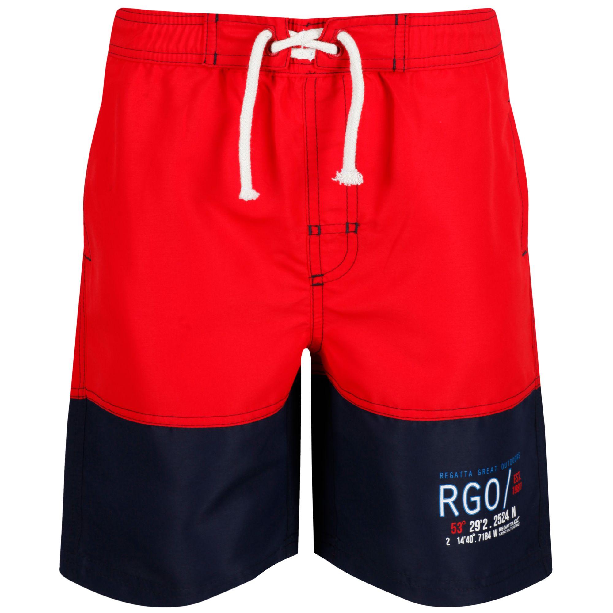 Купальные плавки детские Regatta Shaul II, цвет: красный, синий. RKM013-2V6. Размер 146/152, 11-12 летRKM013-2V6Детские шорты для плавания, 100% полиэстер Taslan. Быстросохнущая ткань. Сетчатая подкладка. Отделка декоративным шнурком. 2 кармана по бокам, 1 задний карман.