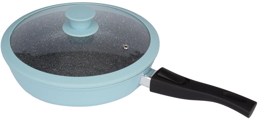 Сковорода Casta Color, глубокая, 26 см, литой алюминий,крышка с силиконовым ободом,съёмная ручка. Цвет голубой