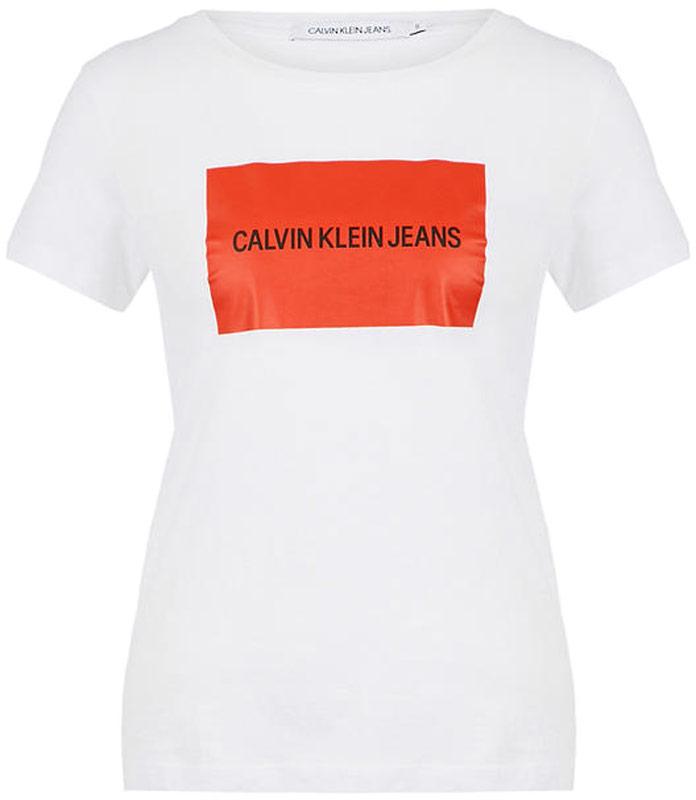 Футболка женская Calvin Klein Jeans, цвет: белый, красный. J20J208600_9050. Размер L (46/48)J20J208600_9050