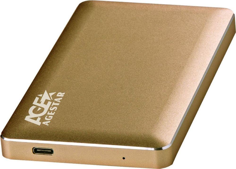 Внешний корпус для HDD AgeStar 31UB2A16, золотистый корпус 2 5 или 3 5 agestar subt2 usb2 0 black