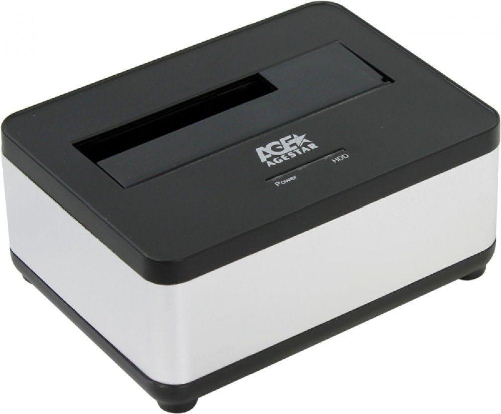 Док-станция для HDD AgeStar 3UBT7, серебристый док станция для hdd 2 5 3 5 sata agestar 3ubt8 silver clone usb3 0 пластик алюминий серебристый
