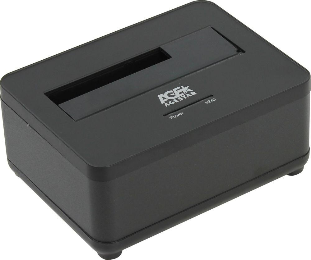 Док-станция для HDD AgeStar 3UBT7, черный док станция для hdd 2 5 3 5 sata agestar 3ubt8 silver clone usb3 0 пластик алюминий серебристый