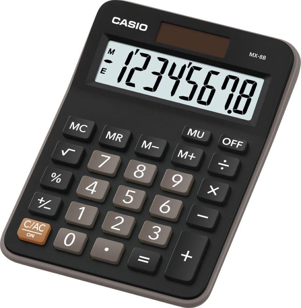 Калькулятор настольный Casio MX-8B, черный, коричневый калькулятор casio mx 12s