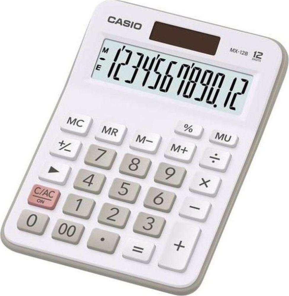 Калькулятор настольный Casio MX-12B-WE, белый, серый калькулятор casio dx 12b