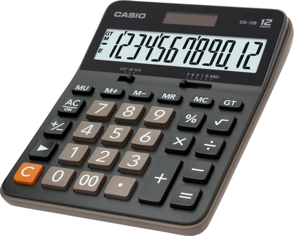 Калькулятор настольный Casio MX-12B, черный, коричневый калькулятор casio mx 12b 12 разрядный коричневый черный