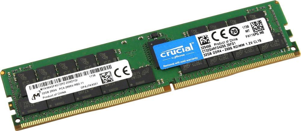 Модуль оперативной памяти Crucial DDR4 32 ГБ, CT32G4RFD4266 модуль оперативной памяти crucial single rank ddr4 8gb 2400мгц