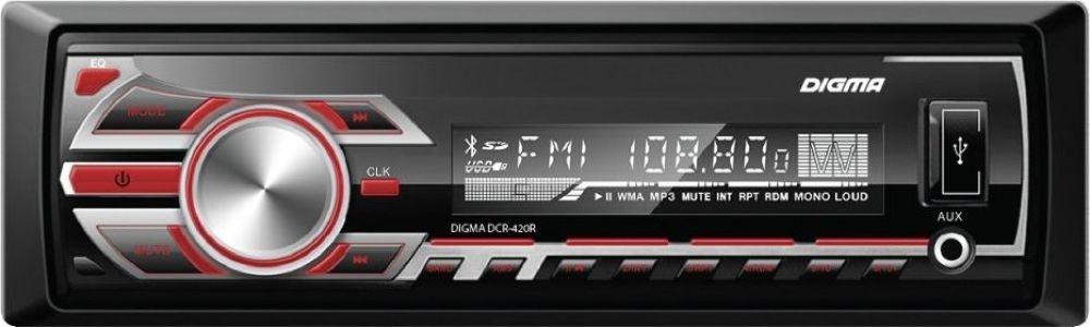 Автомагнитола Digma DCR-420RDCR-420RЦифровой ресивер Digma DCR-420G в черно-серебристом корпусе имеет компактные размеры. Помимо этого у него множество плюсов: высокочувствительный FM-тюнер, вещающий радиостанции в диапазоне FM, что позволит слушать любимую радиостанцию в дороге и наслаждаться лаконичным звучанием. МР3-декодер, преобразовывающий цифровой сигнал в чистый звук, красная подсветка кнопок управления. Устройство читает аудио форматы МР3. Стандартный типоразмер: 1 din, позволит самостоятельно установить его в панель любого автомобиля. <br