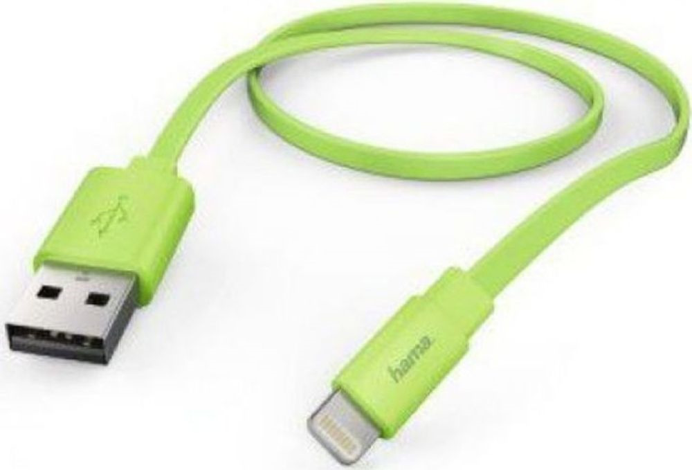 цены на Кабель Hama Flat Lightning (m) USB A(m), 1,2 м, 00173647, зеленый  в интернет-магазинах