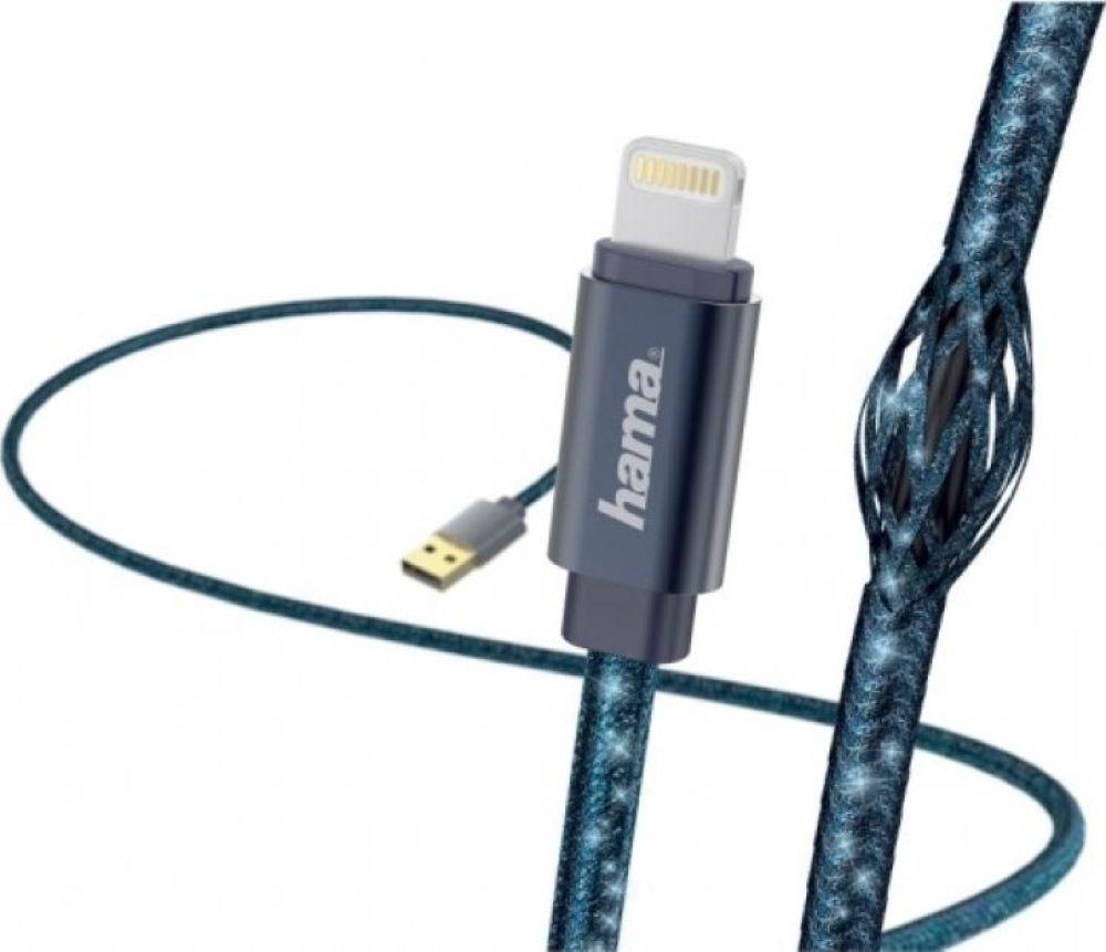 цены на Кабель Hama Glitter Lightning (m) USB A (m), 1,5 м, 00183205, синий  в интернет-магазинах