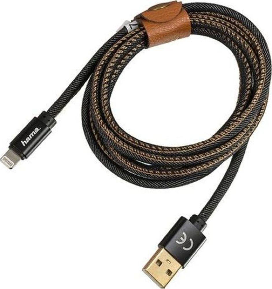 Кабель Hama Jeans Lightning (m) USB A (m), 1,5 м, 00183201, черный цена