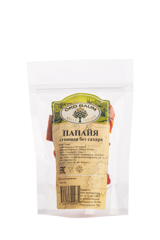 Сухофрукты Oko Baum Папайя сушеная, без сахара, несульфитированная, 100г, 100