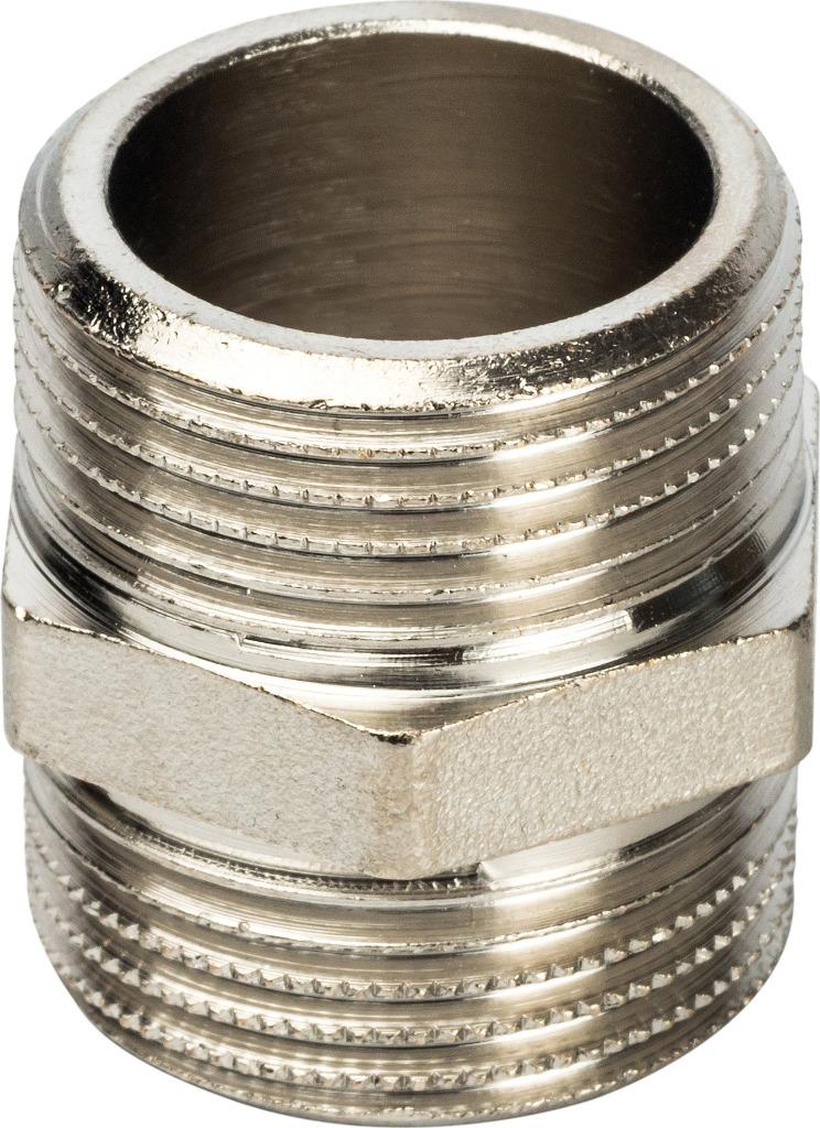 Ниппель НН Stout, переходной никелированный 2х11/4, SFT-0004-002114, серый металлик stout ниппель нн переходной 11 4x3 4
