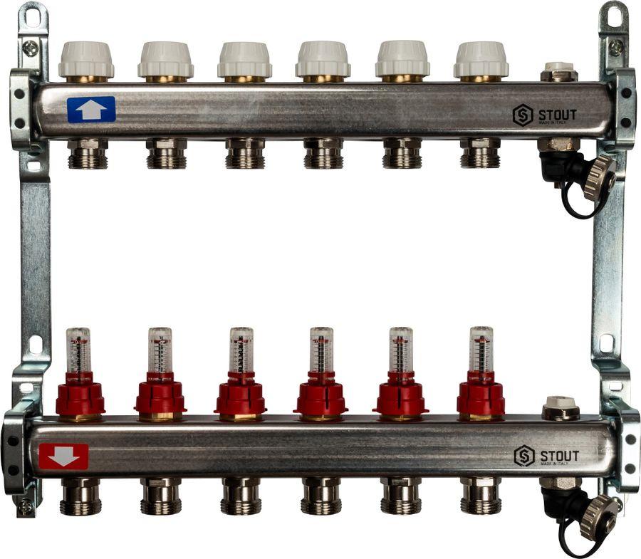 Коллектор Stout, с расходомерами, с клапаном выпуска воздуха и сливом, SMS-0927-000006, серый, 6 выходов stout распределительный коллектор из латуни с расходомерами 9 вых