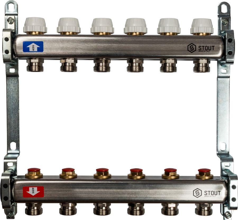 Коллектор Stout, без расходомеров, SMS-0922-000009, серый, 9 выходов коллекторная группа stout 1х3 4 9 выходов без расходомеров sms 0922 000009