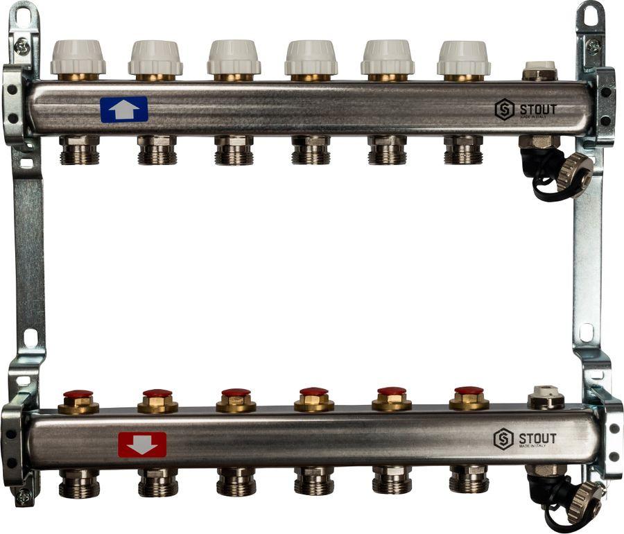Коллектор Stout, без расходомеров, с клапаном выпуска воздуха и сливом, SMS-0932-000006, серый, 6 выходовSMS-0932-000006