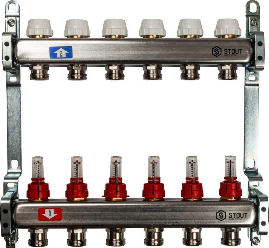 Коллектор Stout, с расходомерами, SMS-0917-000006, серый, 6 выходов stout распределительный коллектор из латуни с расходомерами 9 вых