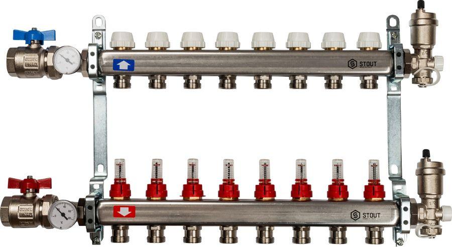 Коллектор Stout, в сборе с расходомерами, SMS-0907-000009, серый, 9 выходов stout распределительный коллектор из латуни с расходомерами 9 вых