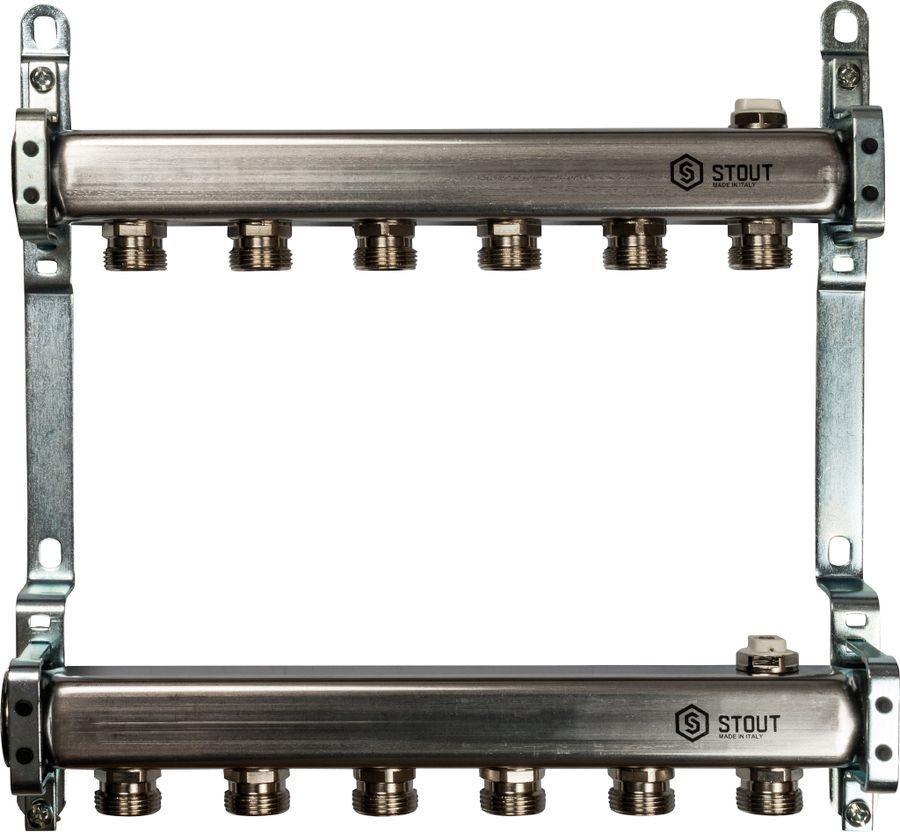 Коллектор Stout, для радиаторной разводки, SMS-0923-000006, серый, 6 выходовSMS-0923-000006