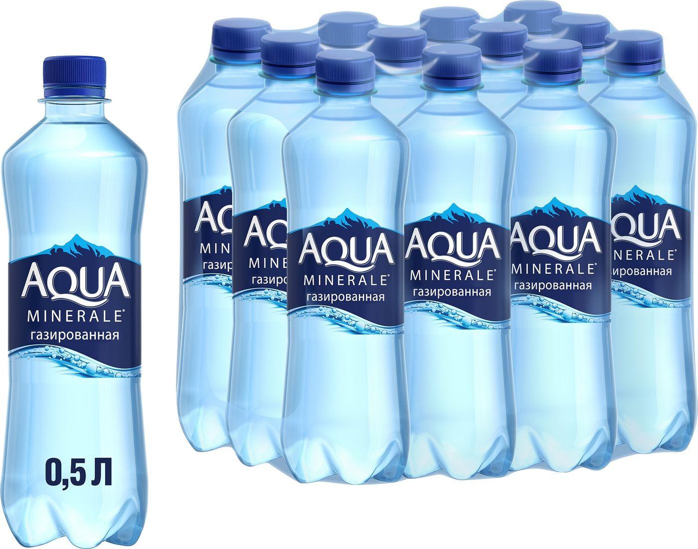 Вода Aqua Minerale, газированная, питьевая, 12 шт по 500 мл