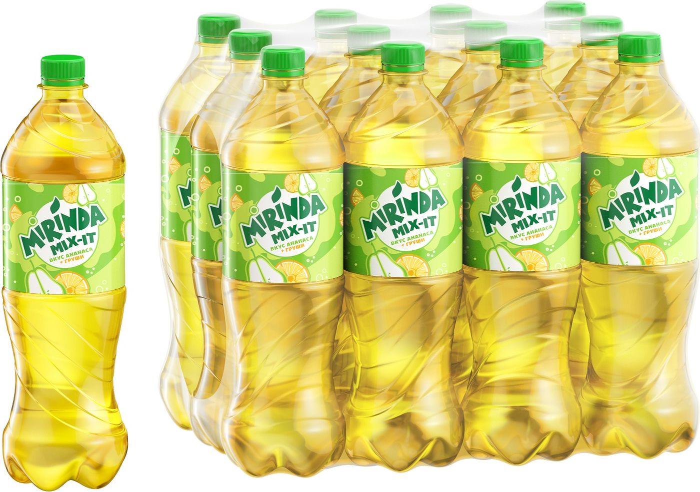 """Газированный напиток Mirinda Mix-It """"Ананас-Груша"""", 12 шт по 1 л"""