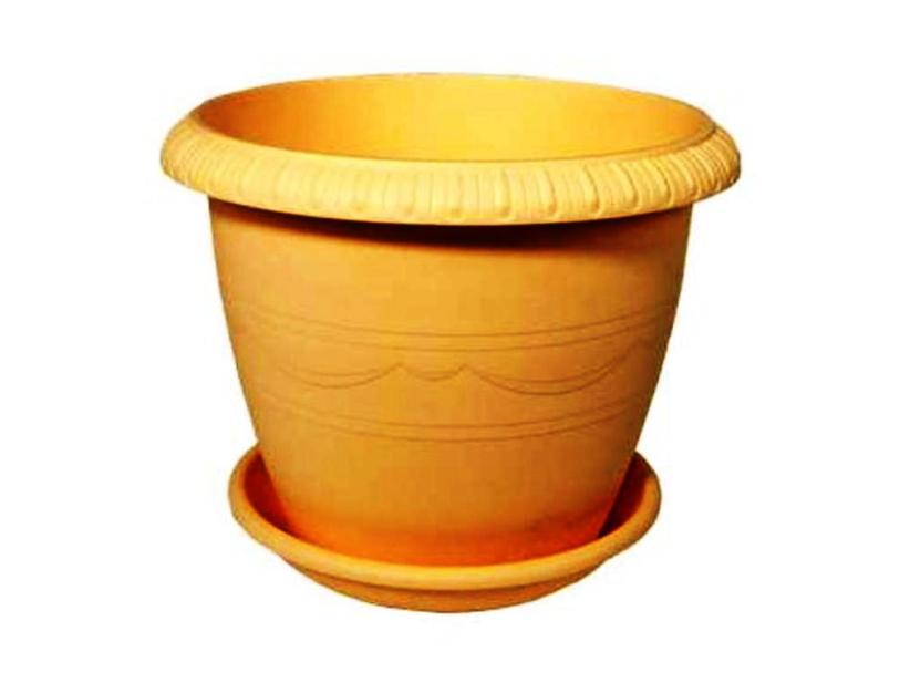 Горшок для цветов с поддоном пластиковый LE JARDIN (Ле Жардин), диаметр 25 см, объем 5,5 литров, высота 20 см, бежевый цвет, дренаж, кашпо, боковая система полива, пластик 103-2 ТЕК.А.ТЕК