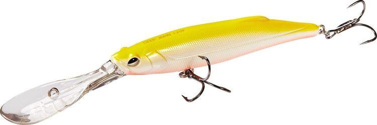Воблер Lucky John Original Deep John, LJO0107F-015, желтый, белый, длина 7 см