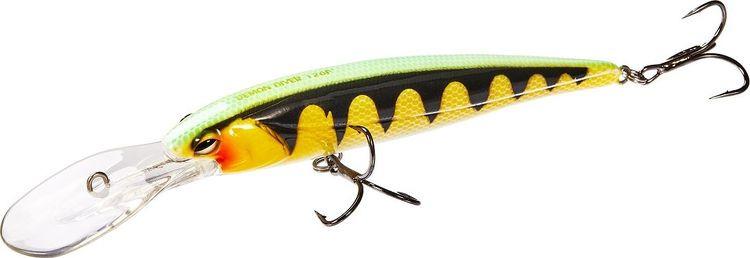 Воблер Lucky John Original Demon Diver, LJO0212F-005, желтый, черный, зеленый, длина 12 см