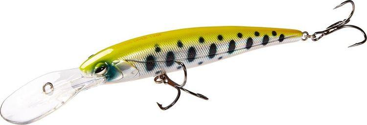 Воблер Lucky John Original Demon Diver, LJO0212F-006, желтый, черный, белый, длина 12 см воблер плавающий lucky john haira tiny shallow pilot цвет желтый черный белый 3 3 см 4 г
