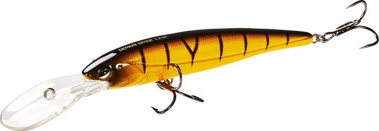 Воблер Lucky John Original Demon Diver, LJO0212F-014, оранжевый, черный, длина 12 см цены