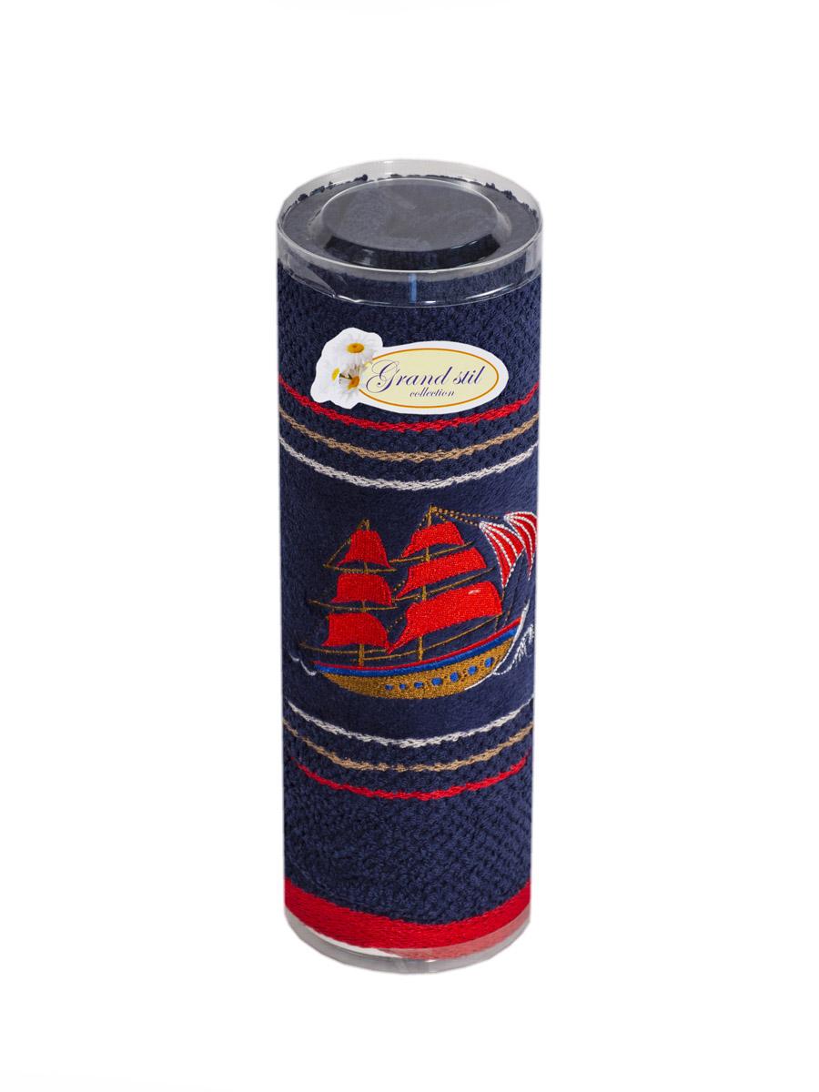 Полотенце для лица, рук или ног Grand Stil Фрегат, размер 45*90, N17-220t, синийN17-220tsЛицевое полотенце в тубусе. Торговая Марка «Гранд стиль» производит и реализует текстиль только наивысшего качества. Мы предлагаем махровые изделия изготовленные из бамбука и хлопка. Наши полотенца прекрасно впитывают влагу, не линяют и не выцветают