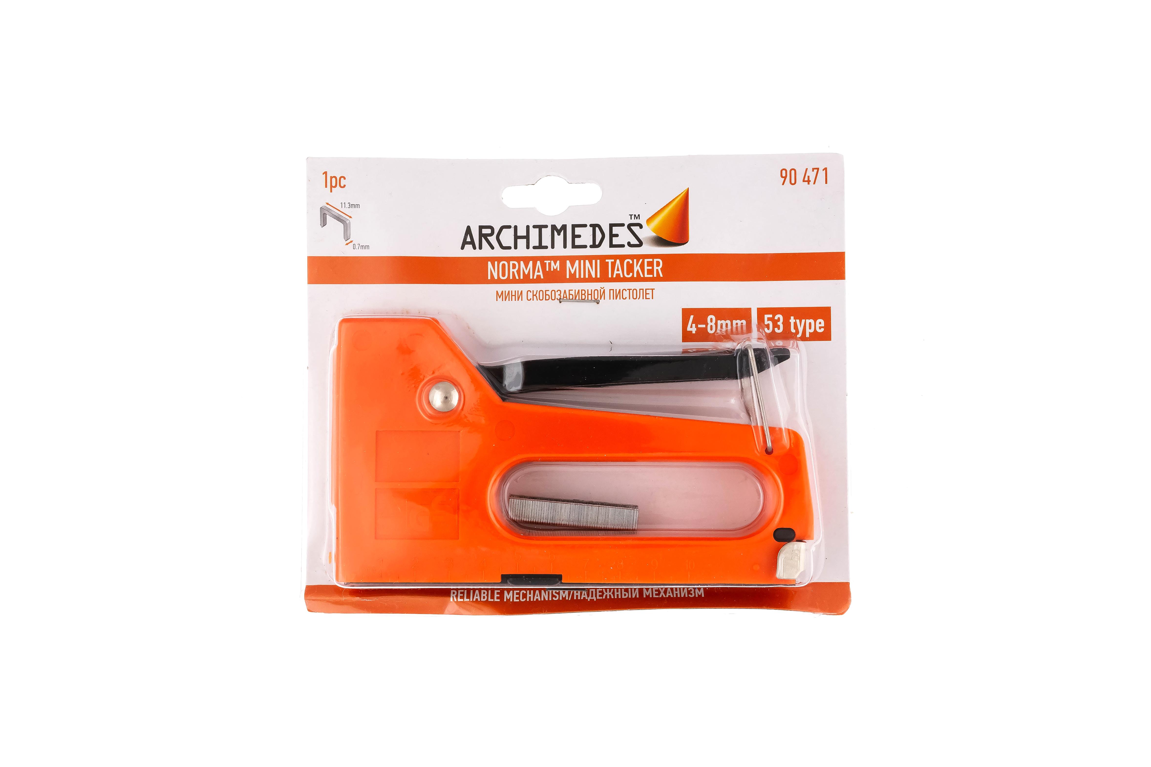 Степлер строительный Archimedes Скобозабивной пистолет МИНИ пистолет скобозабивной archimedes mini