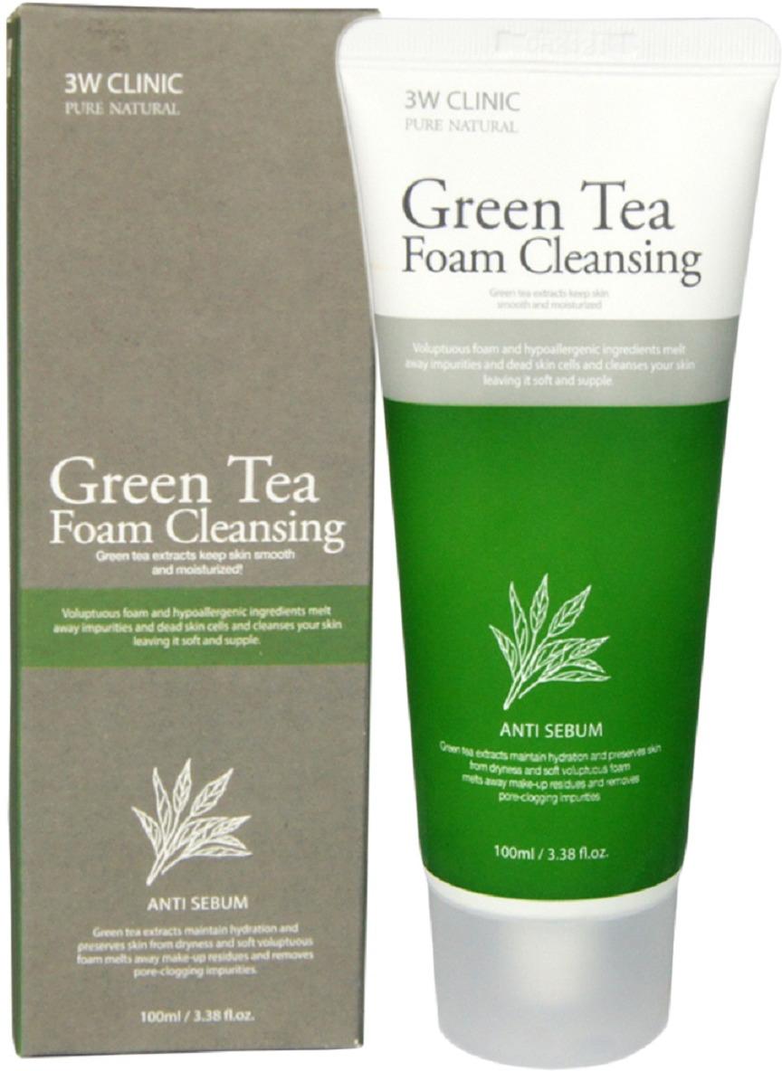 3W Clinic Пенка для умывания Green Tea, 100 мл