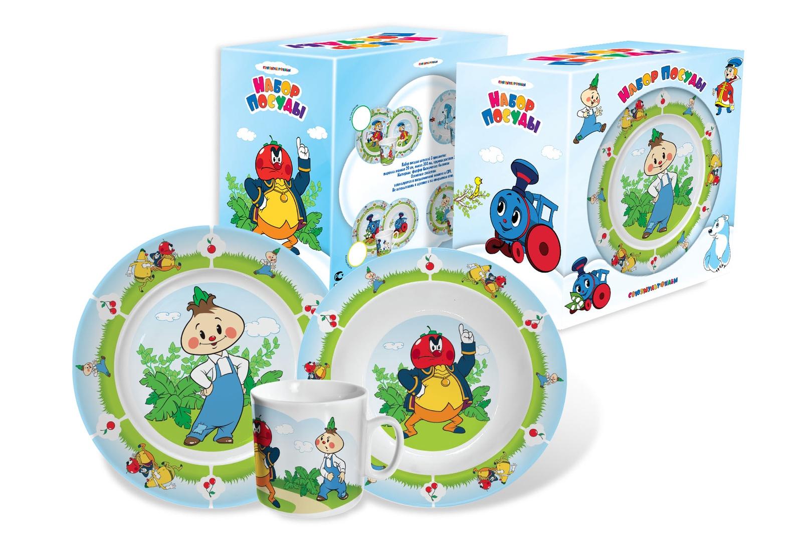 Набор детской посуды Priority / Союзмультфильм Чиполлино, фарфор набор карточек чиполлино из бергамо игра в литературных героев