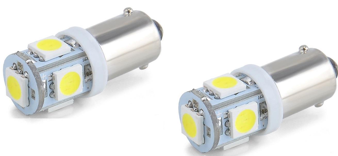 Лампа автомобильная Юпитер светодиодная (5 диодов) 12В4W с цоколем, габаритная (к-т 2шт), серебристый лампы для подсветки растений
