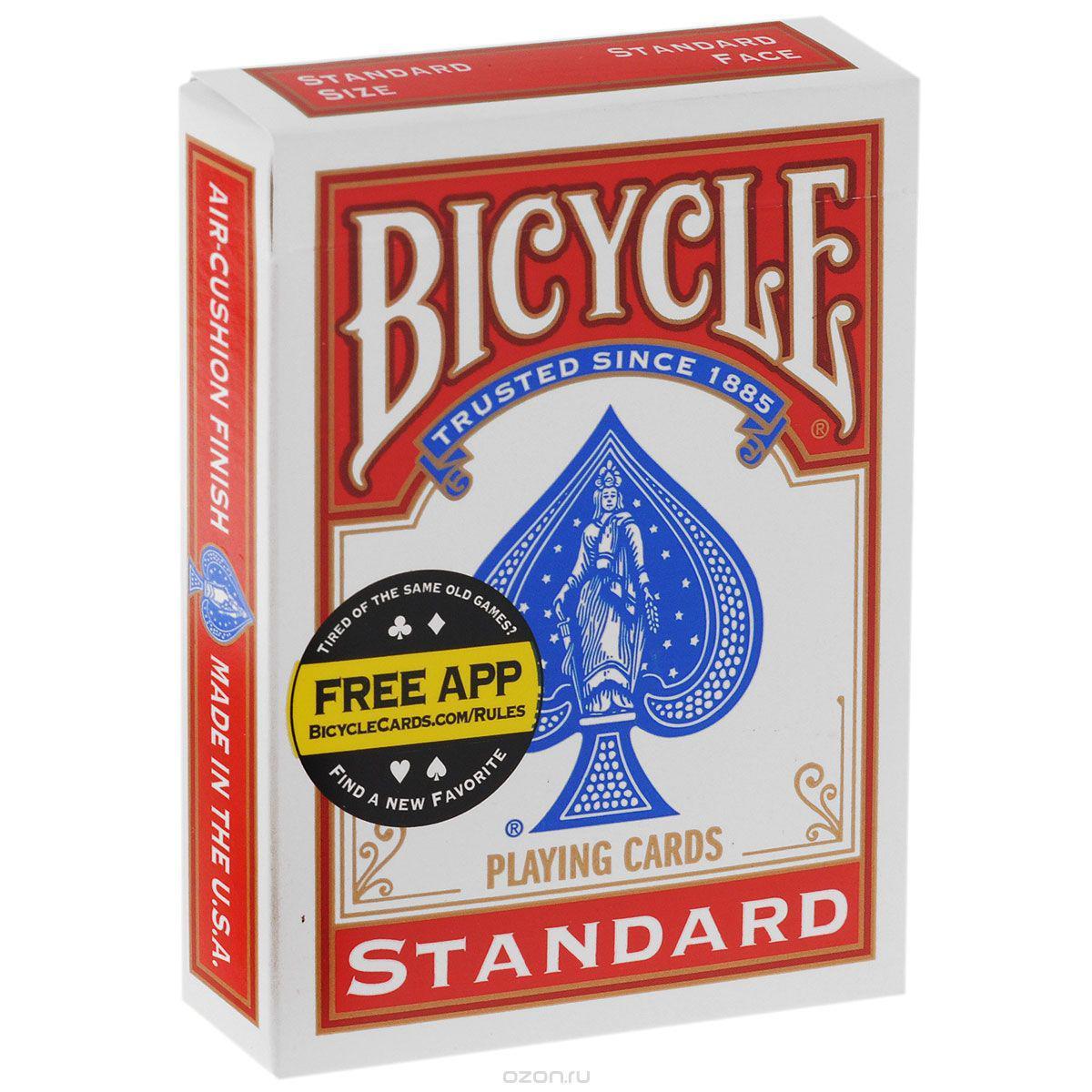 Игральные карты United States Playing Card Company Bicycle Blank Back Standard Face, красная рубашка1012694-redКолода: 54 карты Размер: 7 х 9 х 2 см Вес: 0,2 кг