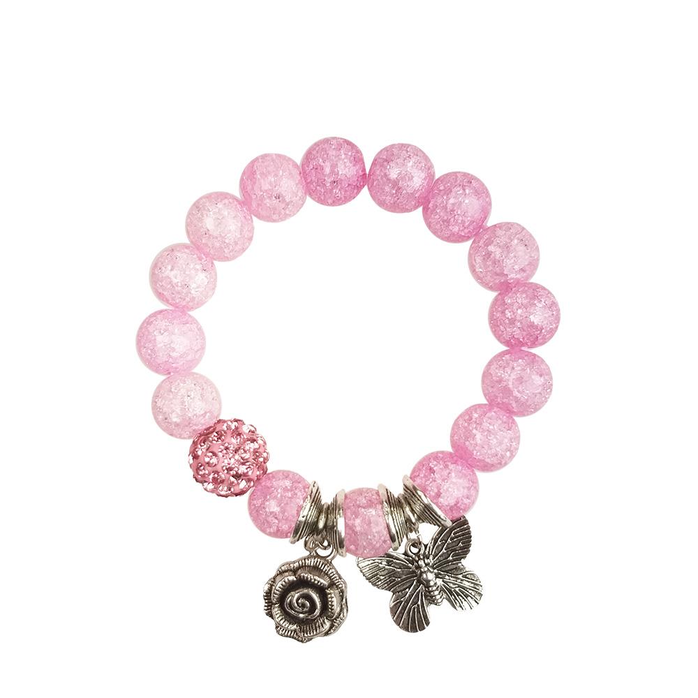 Браслет бижутерный Ария Роза и бабочка (розовый), Хрусталь, Бижутерный сплав, Стразы, розовый, серебристый браслет из прессованного коралла хрусталя и кахолонга яркая деталь