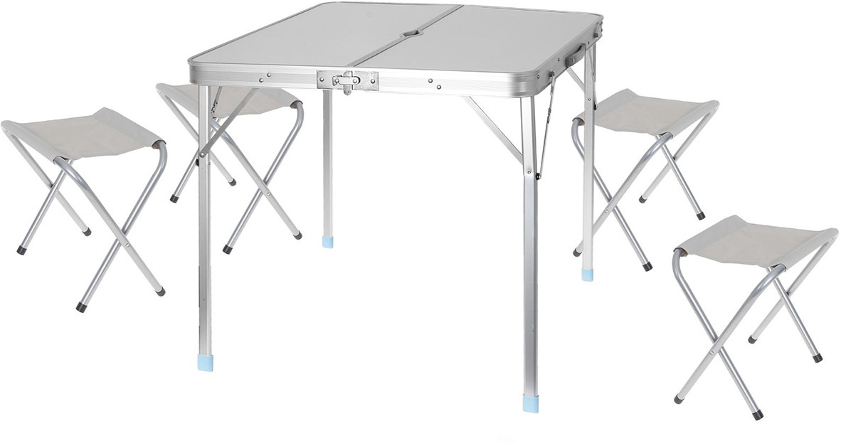 Набор мебели туристической, стол + 4 стула, 496525, белый