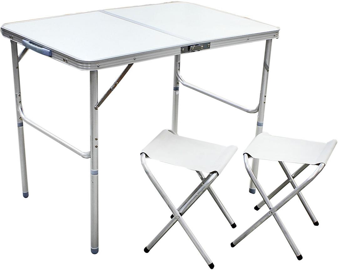 Набор мебели туристической, стол + 2 стула, 638211, белый
