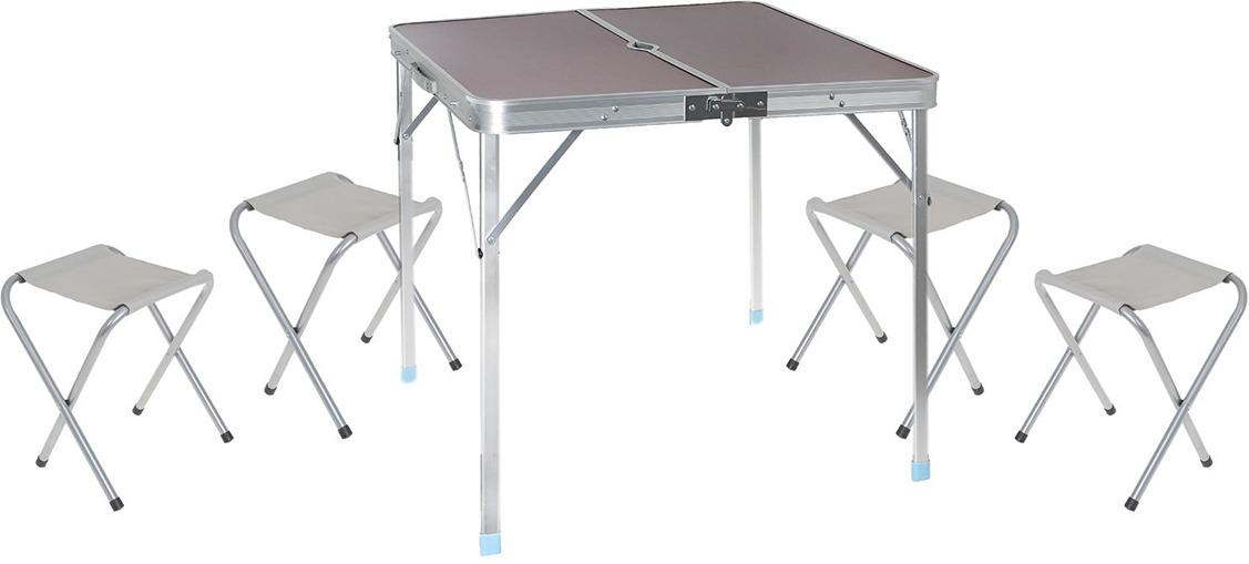 Набор мебели туристической, стол + 4 стула, 892041, коричневый