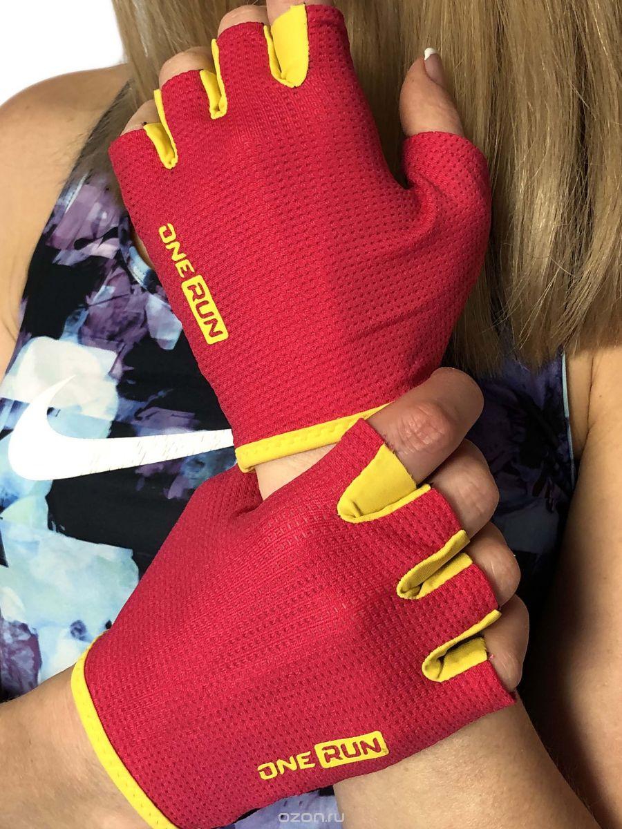 Перчатки для фитнеса OneRun женские розовые, розовый, черный