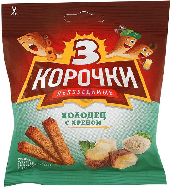 Сухарики ржаные 3 Корочки Холодец с хреном, 40 г сухарики ржаные русские сухарики фермерская сметана 50 г