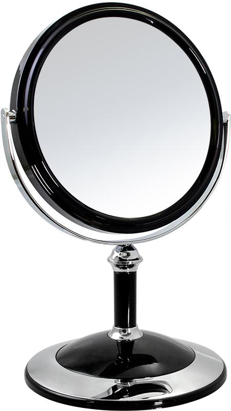 Зеркало косметическое Weisen настольное двустороннее с 5Х увеличением, B6 8021 BLK/C, черный, серебристый зеркало косметическое jardin d ete со стразами роза сталь стекло d64 мм 947864