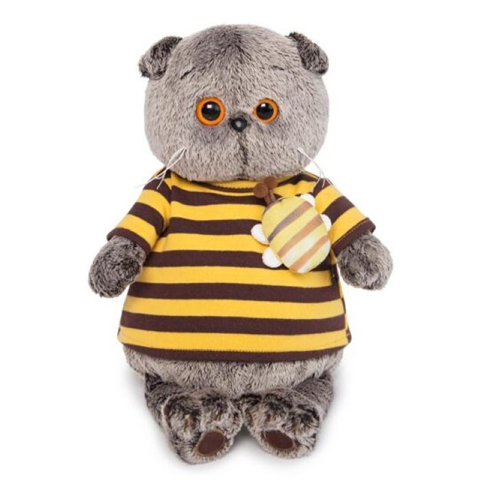Фото - Мягкая игрушка Budi Basa Кот Басик в полосатой футболке с пчелой, 22 см budi basa мягкая игрушка budi basa кот басик в полосатой футболке с пчелой 19 см