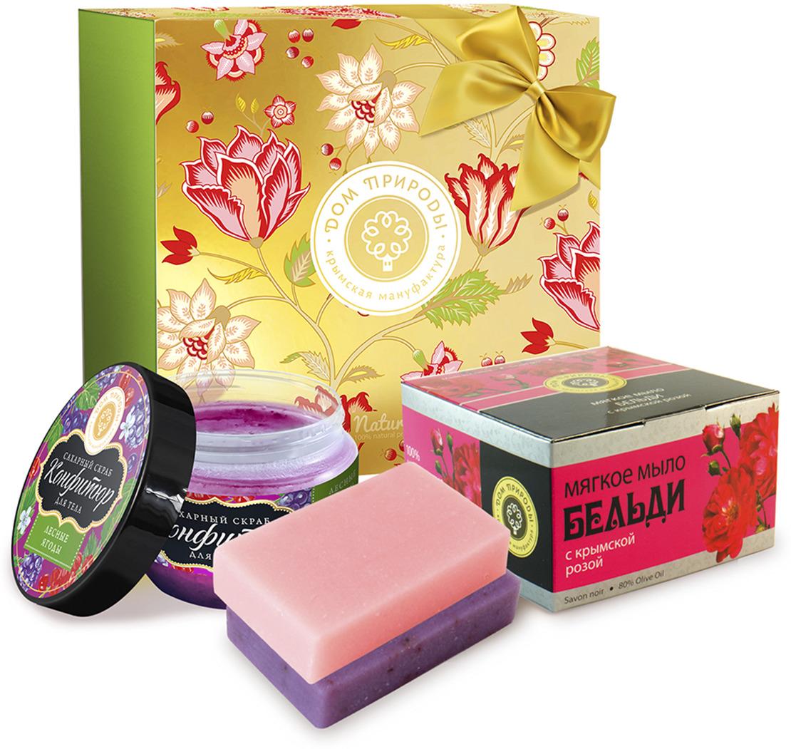 Подарочный набор косметики Мануфактура Дом природы Мягкое мыло, с крымской розой + Конфитюр для тела