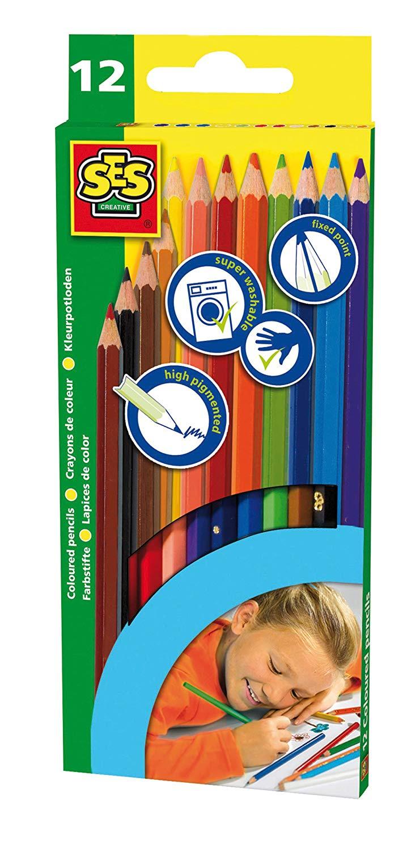 Набор карандашей SES creative Набор цветных карандашей 12 цветов 00224 набор шаров блестки 4 шт в картонной коробке 7 см 4 цв