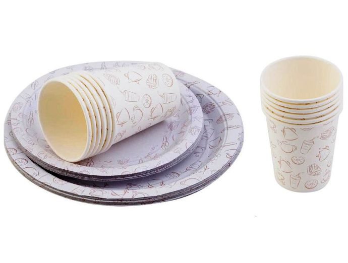 Набор одноразовой посуды Paclan Набор одноразовой бумажной посуды с рисунком Party FREE TIME: 12 стаканов по 250 мл, 12 тарелок 17 см, 12 тарелок 23 см., разноцветный