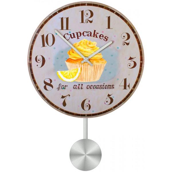 Настенные часы Kitchen Interiors 30110943011094Настенные часы для гостиной с маятником. Механизм: Кварцевый; Корпус: Дерево; Размер: Диаметр 30 см;Рисунок: Лимонный кекс