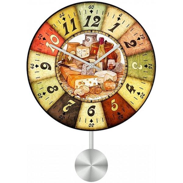 Настенные часы Kitchen Interiors 30110983011098Механизм: Кварцевый; Корпус: Дерево; Размер: Диаметр 30 см;Рисунок: Трапеза