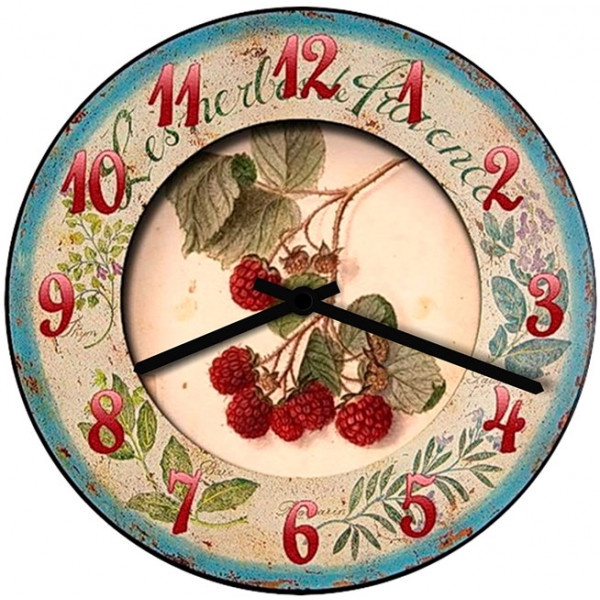Настенные часы Kitchen Interiors 40011024001102Механизм: Кварцевый; Корпус: Дерево; Размер: Диаметр 40 см;Рисунок: Малина