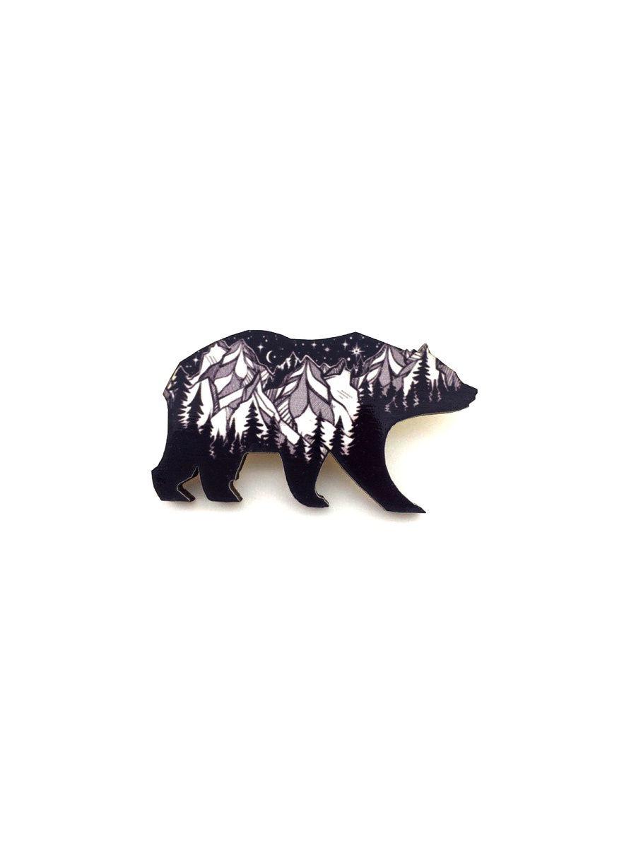 Брошь - Сибирский медведь (Деревянный значок) цена